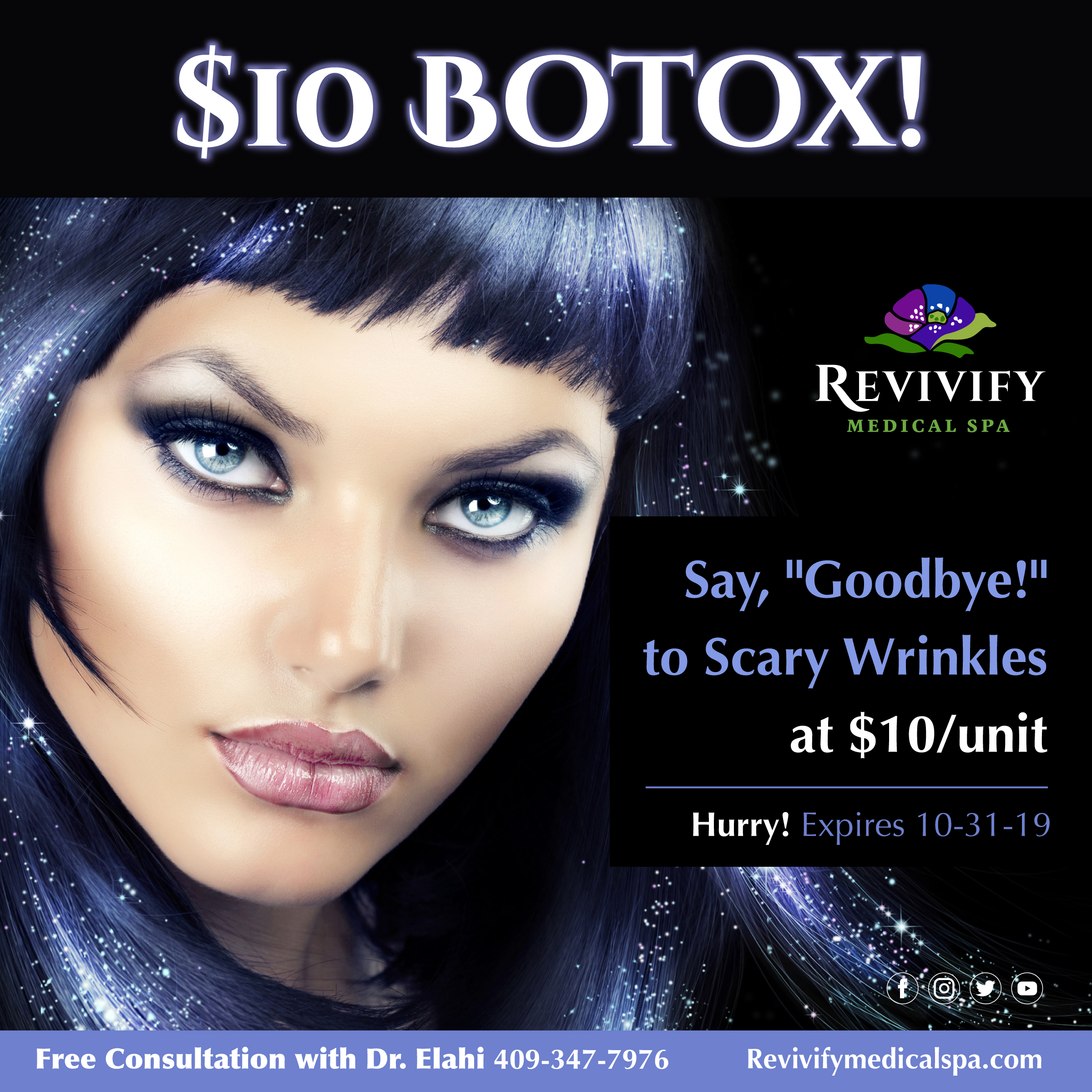 goodbye scary wrinkles $10 unit botox & filler $50 a syringe