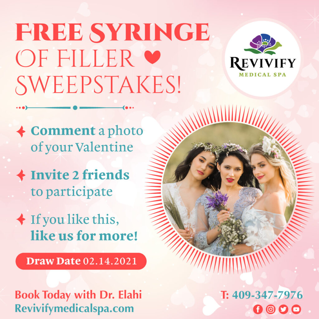 Free Syringe of Filler Sweepstakes Valentines Medical Spa Specials 2021 Beaumont Texas